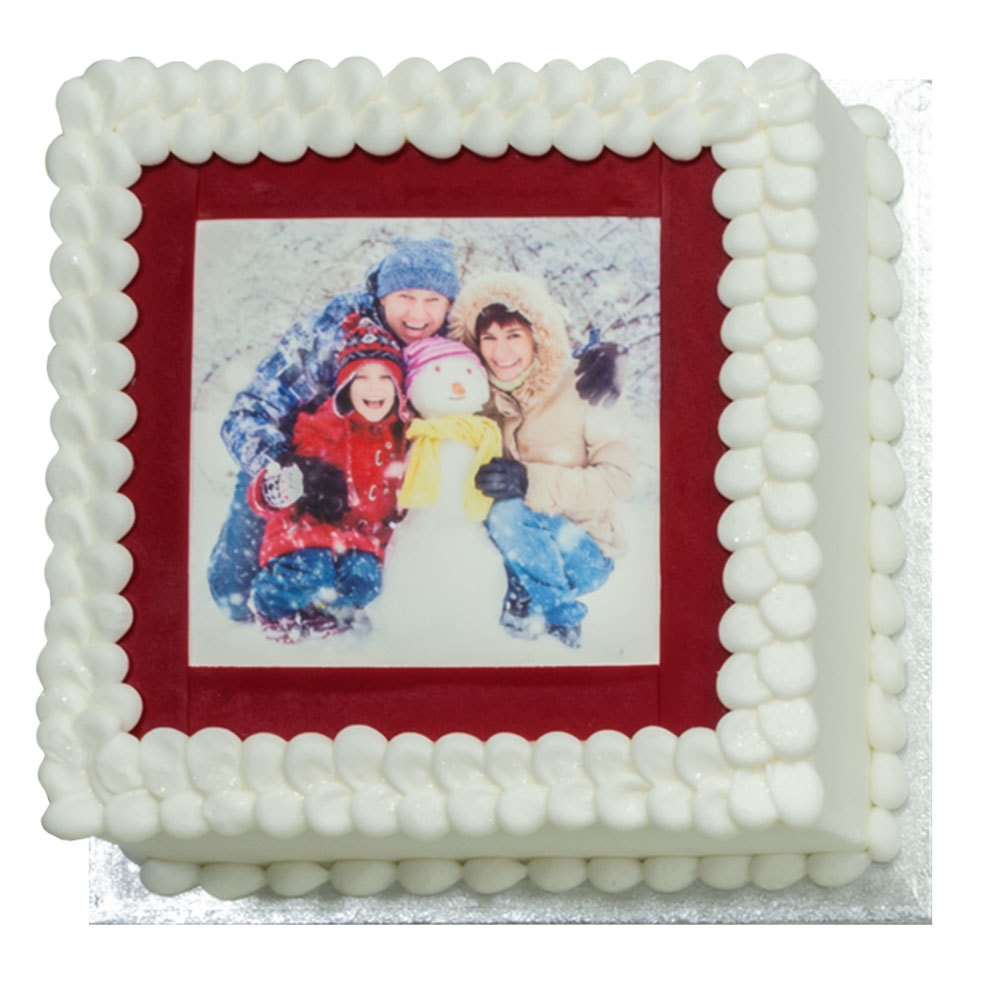 PhotoCake® Winter Family Square Cake Design