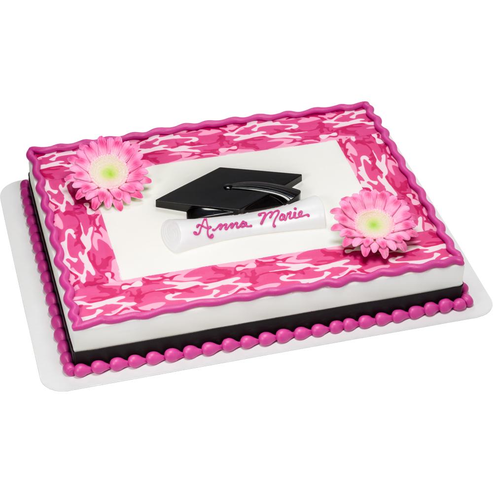 Pink Camo Grad Sheet Cake Design