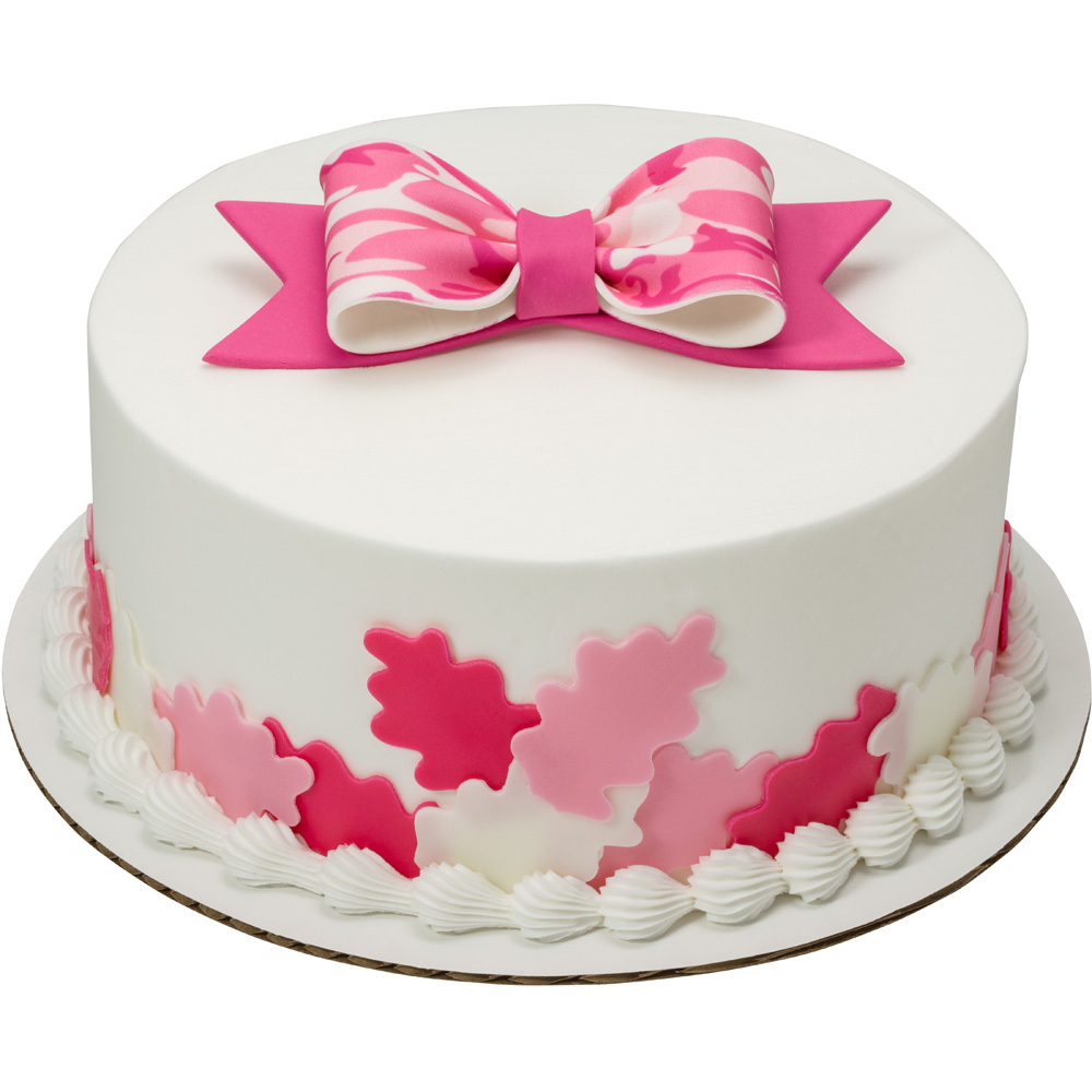 Pink Camo Leaf Cut-Outs and Gum Paste Bow Round Cake Design