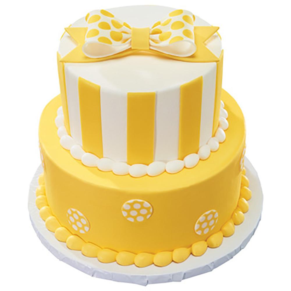Primary DecoShapes and Gum Paste Bow Stacked Fondant Cake