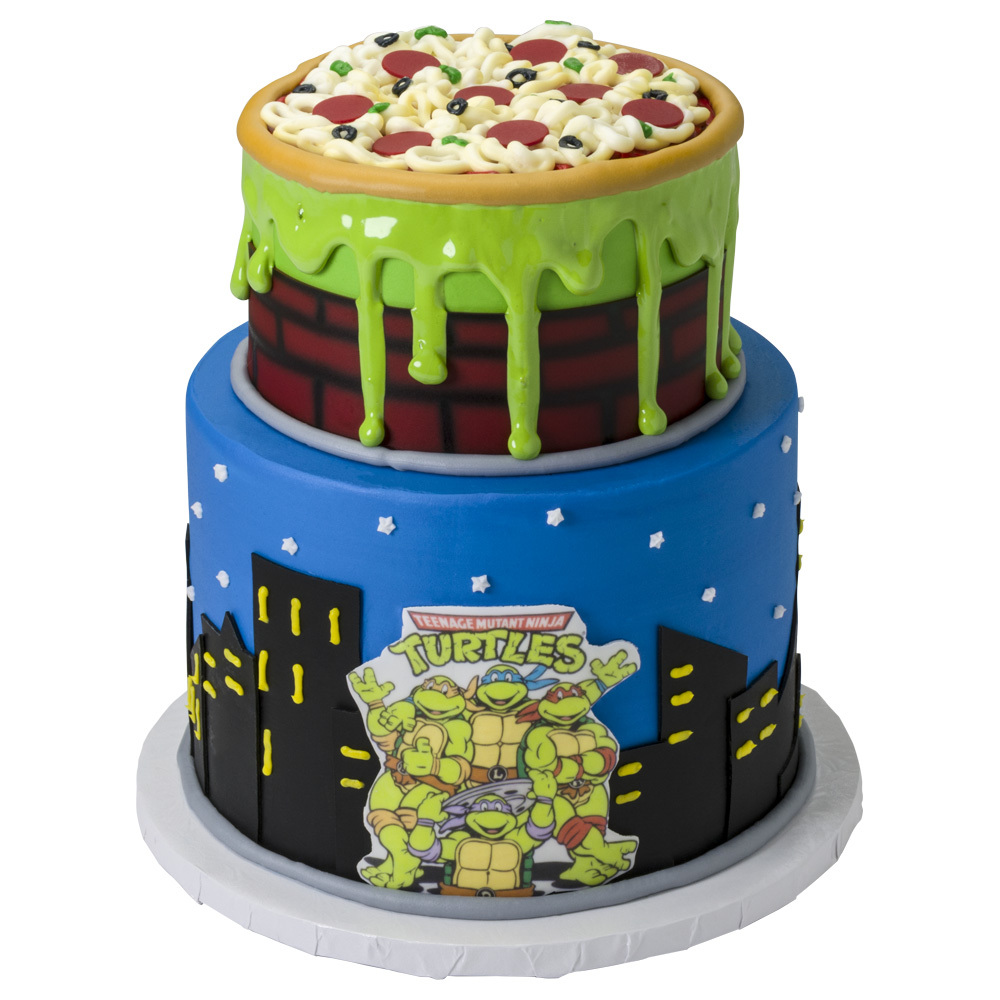 Retro Teenage Mutant Ninja Turtles Pizza Drip Cake Design