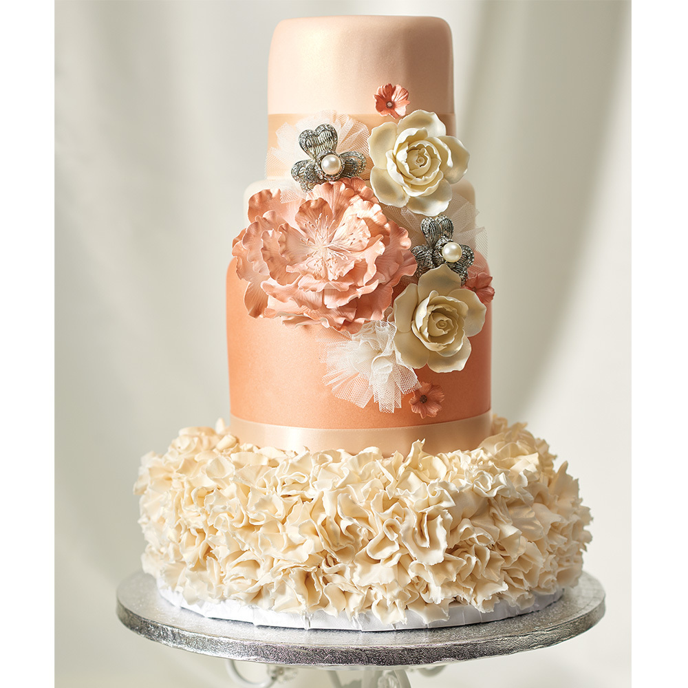 rose gold wedding cake gold wedding cake decopac 7119