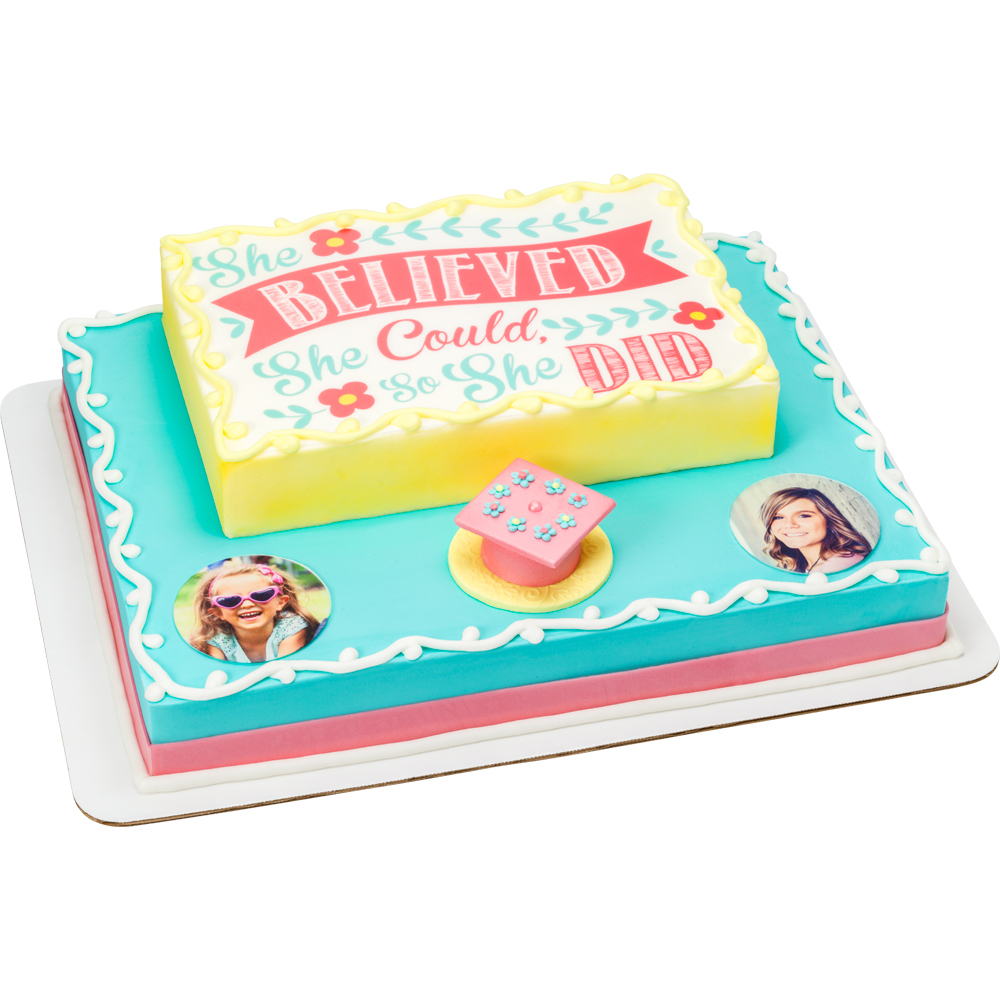 She Believed Graduation Stacked Cake Design