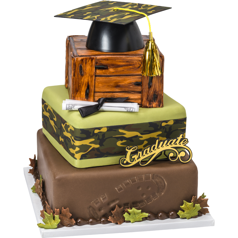 Sights on a Bright Future Camo Stacked Cake Design