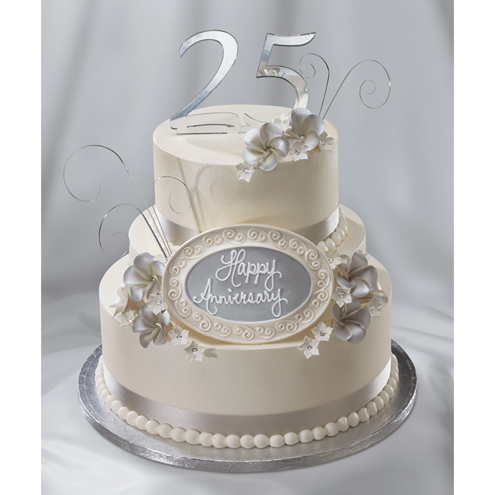 silver wedding cake decorations silver anniversary cake decopac 7449