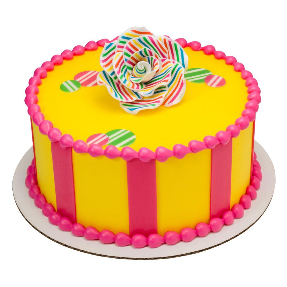 Simply Stripes Gum Paste Rose Round Cake Design