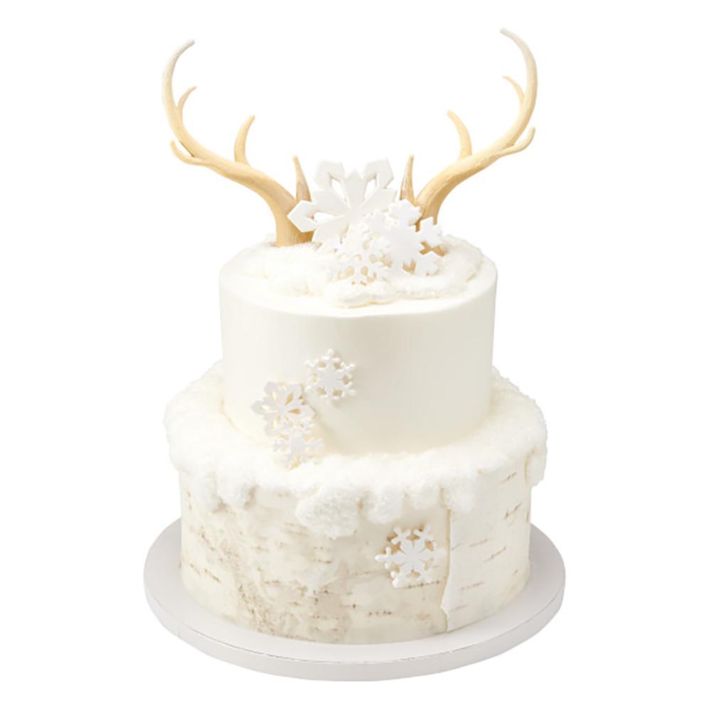 Snowy Antlers Cake Design