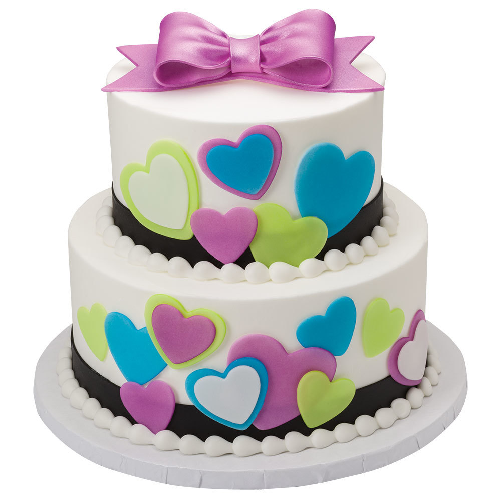 Sophisticated Heart DecoShapes and Gum Paste Bow 2-Tier Cake