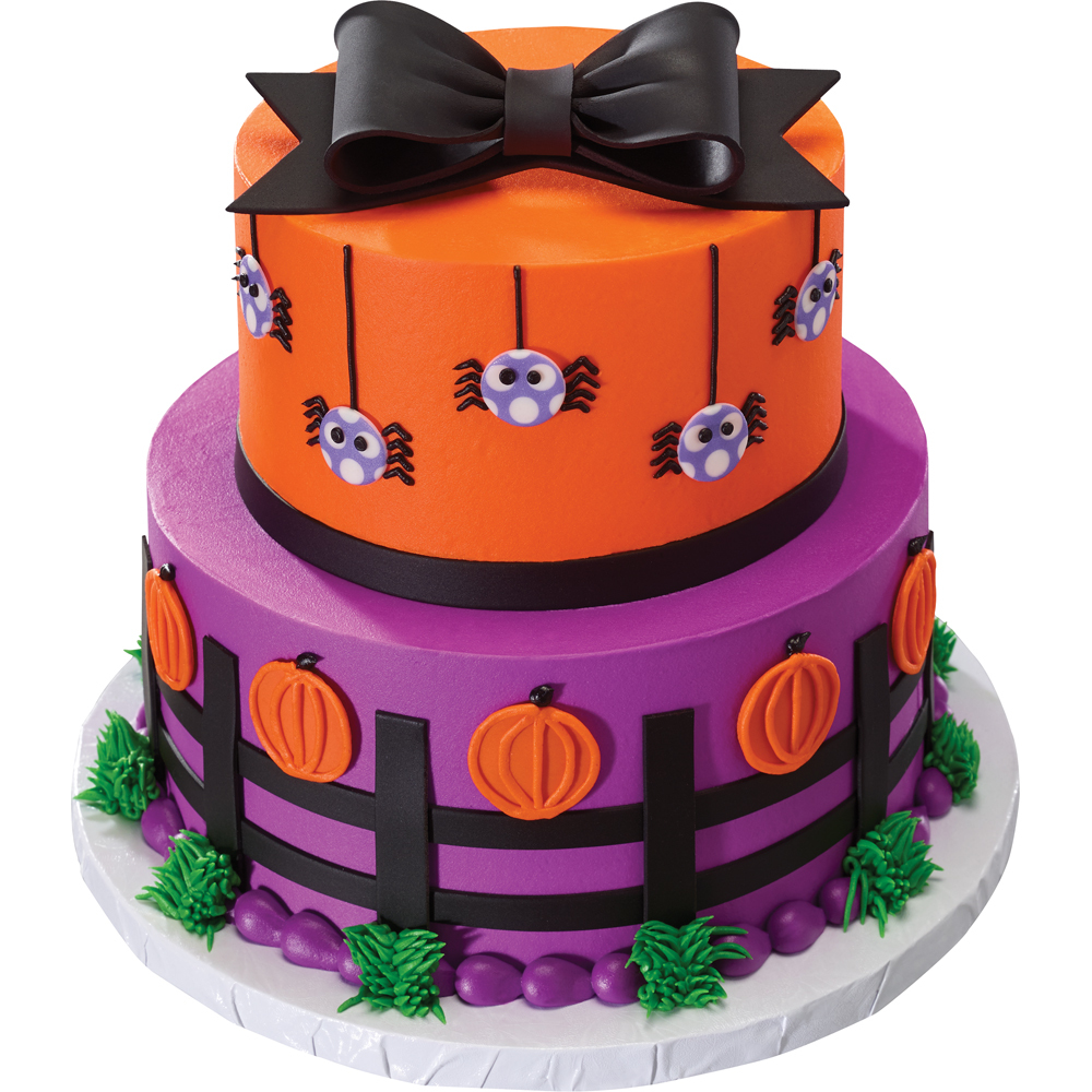 Spiders, Pumpkins and Bows Gum Paste Cake