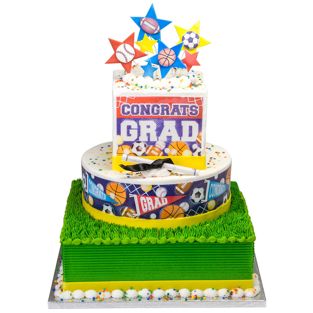 Sports Graduation Stacked Cake