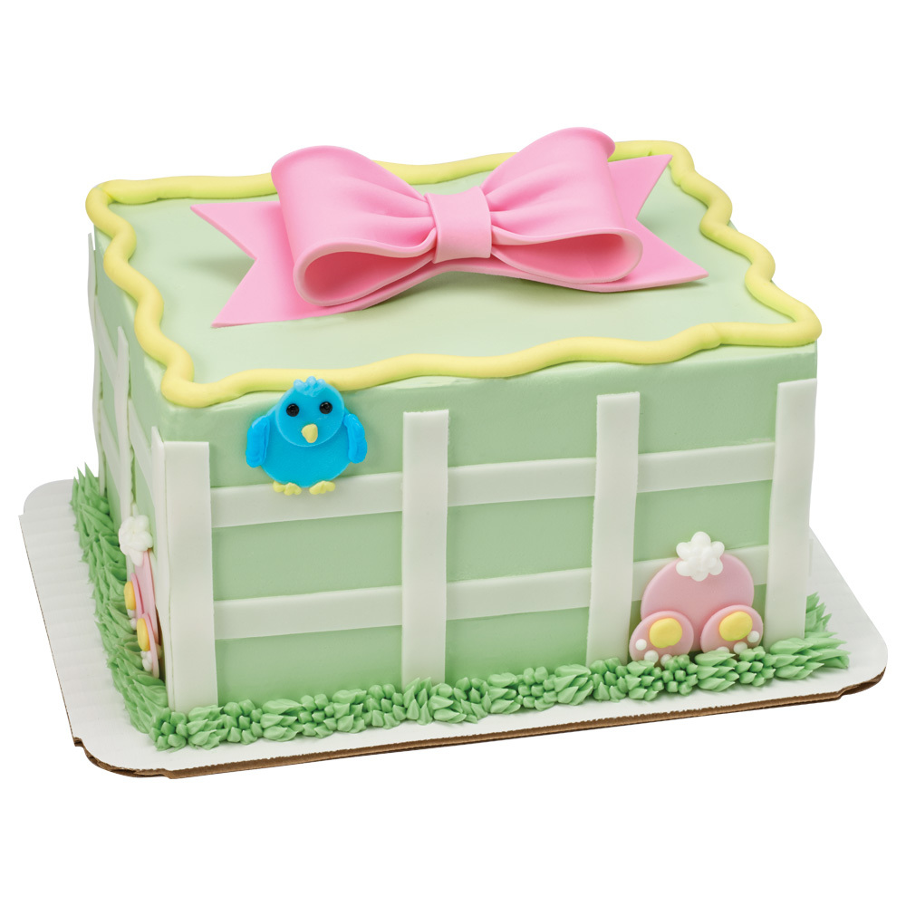 Spring Bluebird & Bunny 1/8 Sheet Cake Design