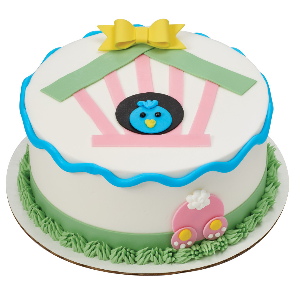 Spring Bluebird & Bunny Round Cake