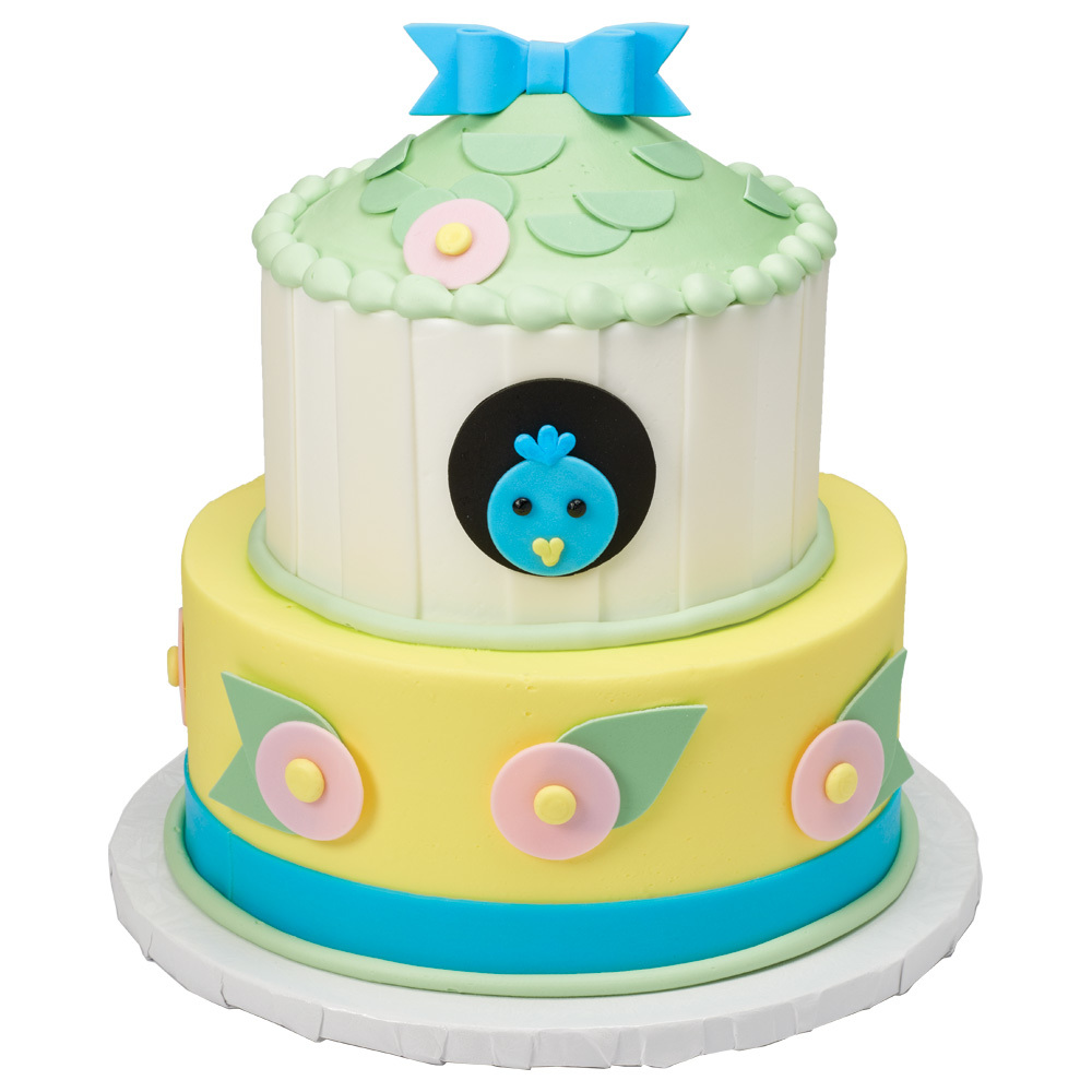 Spring Bluebird Stacked Cake Design