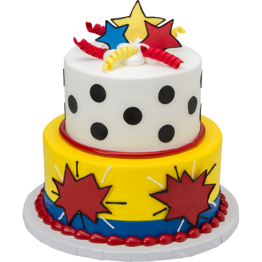 Stars & Curls Gum Paste and DecoShapes 2-Tiered Round Stacked Cake Design