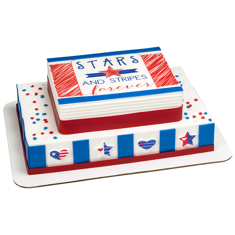 Stars & Stripes Stacked Cake Design