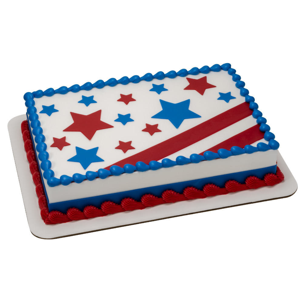 Stars & Stripes DecoShapes 1/4 Sheet Cake Design