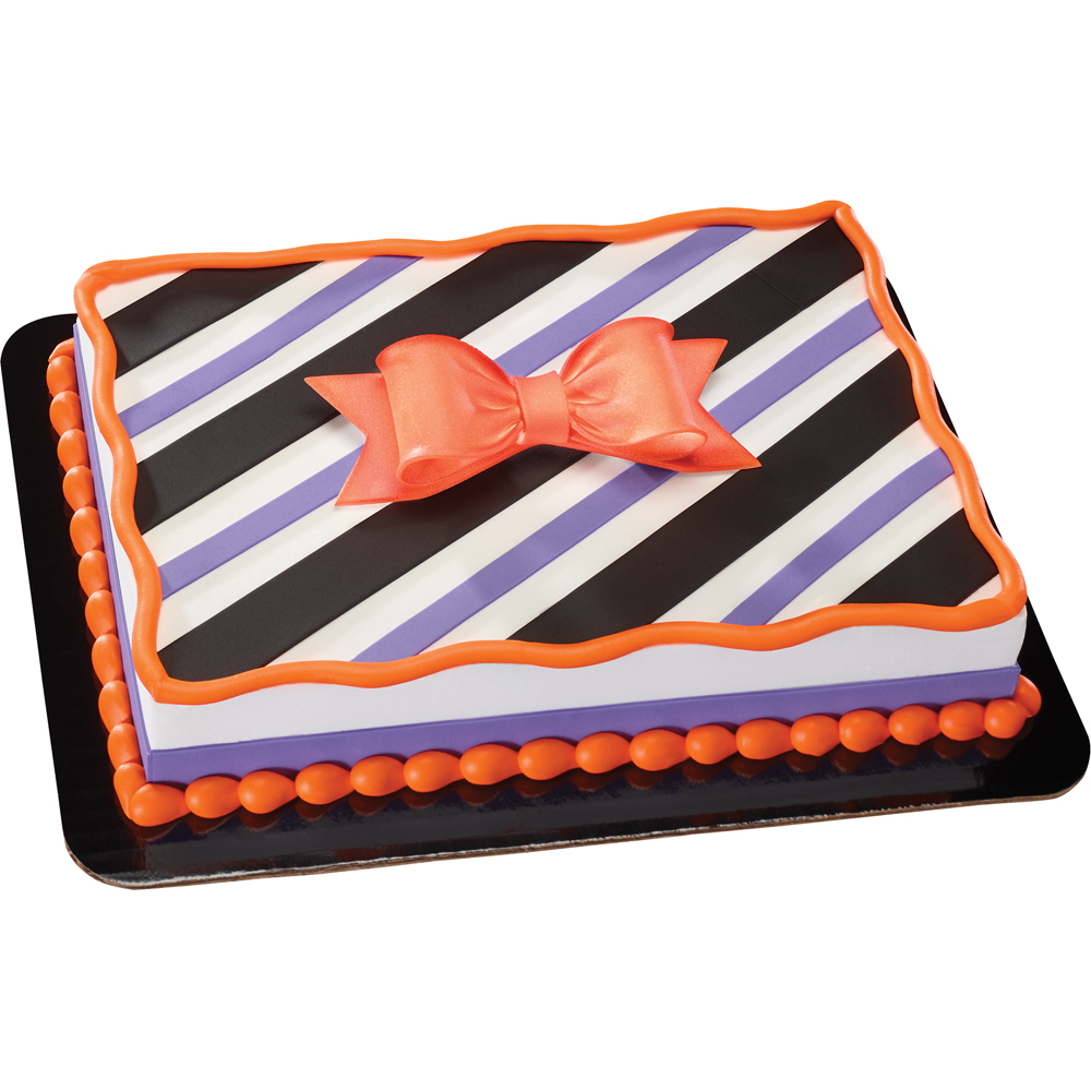Stripes and Bows Gum Paste Halloween Cake Design