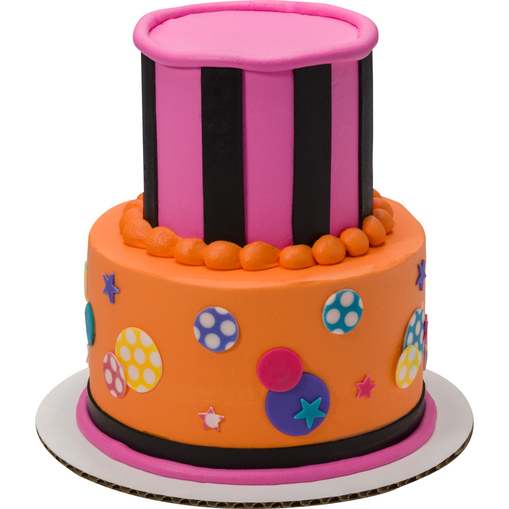 Stripes Celebration Round Stacked Cake Design