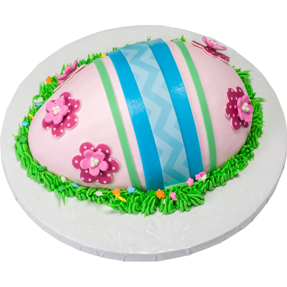 Stripes & Flowers Easter Egg Cake Design