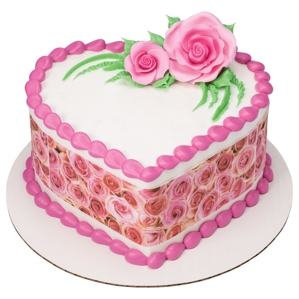 Sweet Roses Heart Shaped Cake Design