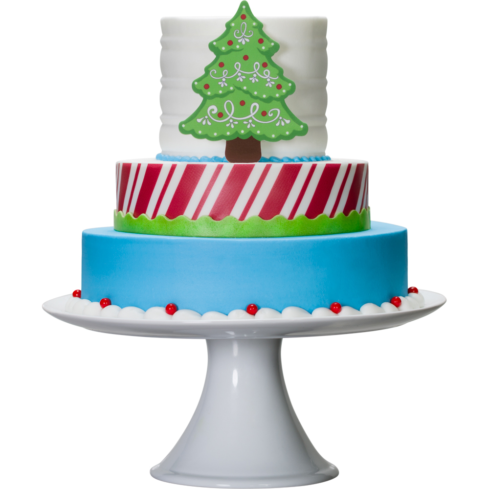 Decopac tiered modern christmas cake for Modern christmas decorations online