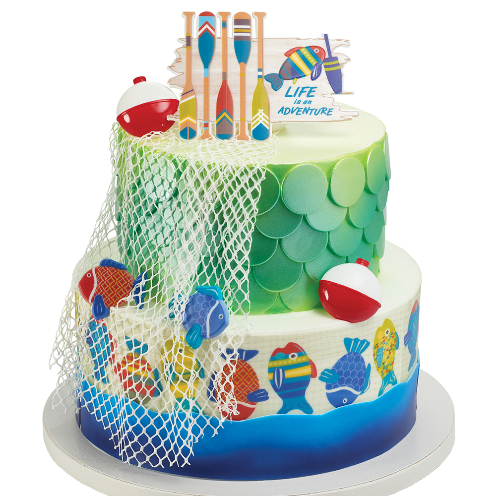 Urban Adventures Fishing Stacked Cake Design