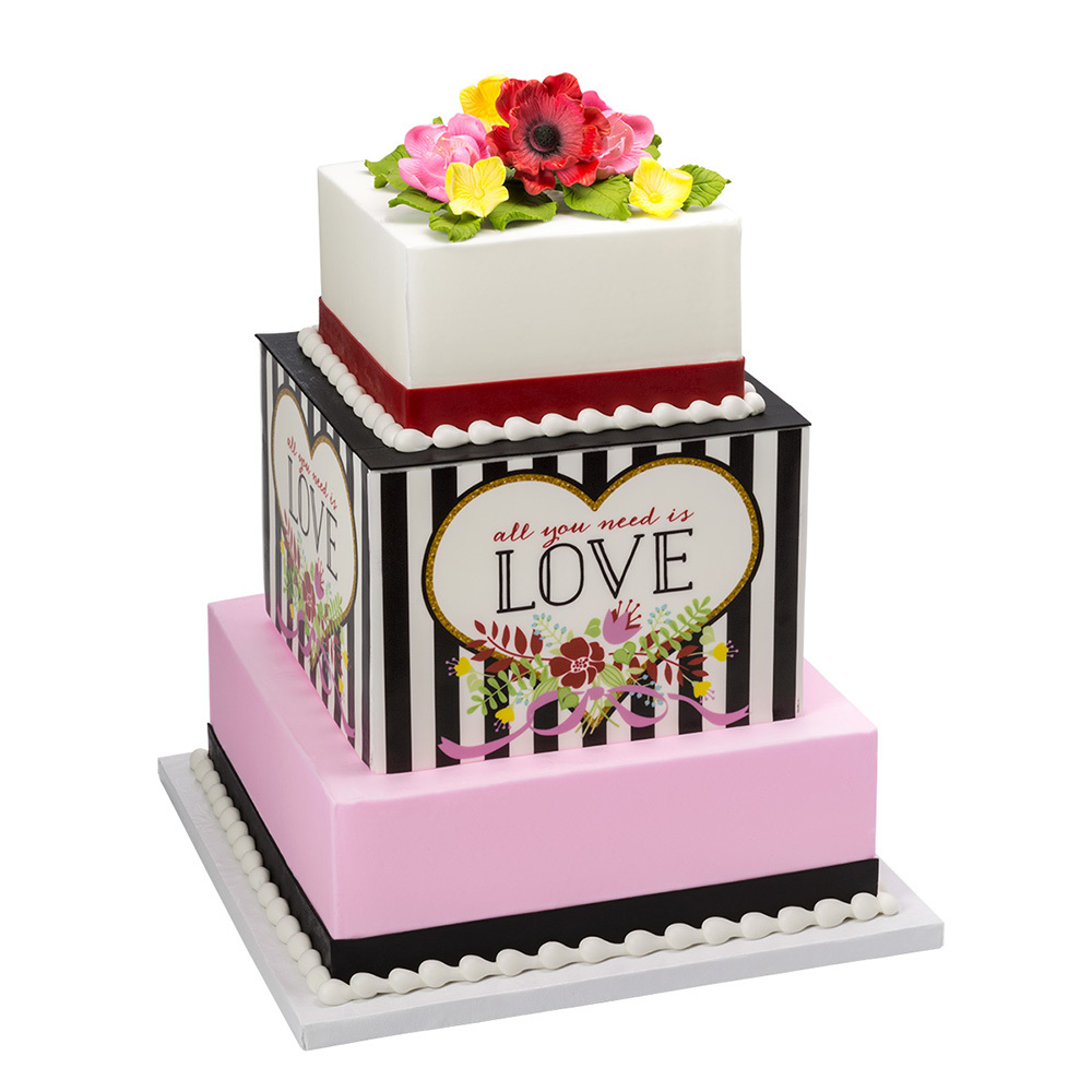 Valentine's Day Stacked Striped Flower Cake Design