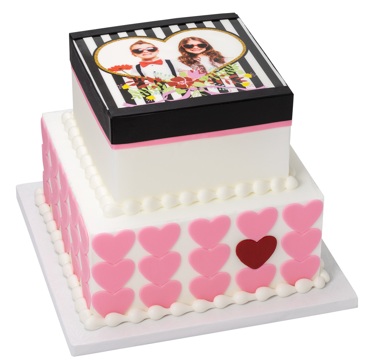 Valentine's Day Stacked Sweetheart Frame Cake Design