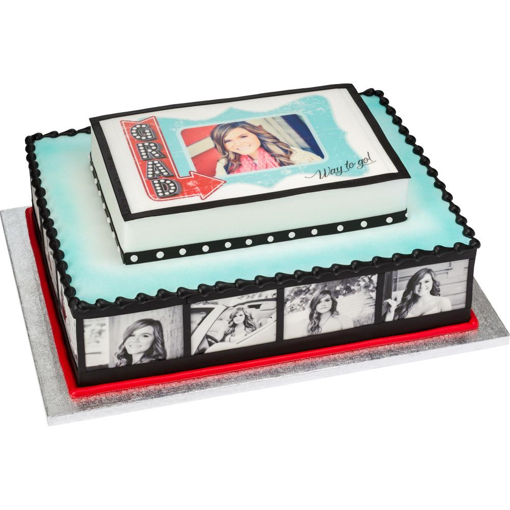 Vintage Marquee PhotoCake® Reel Graduation Cake