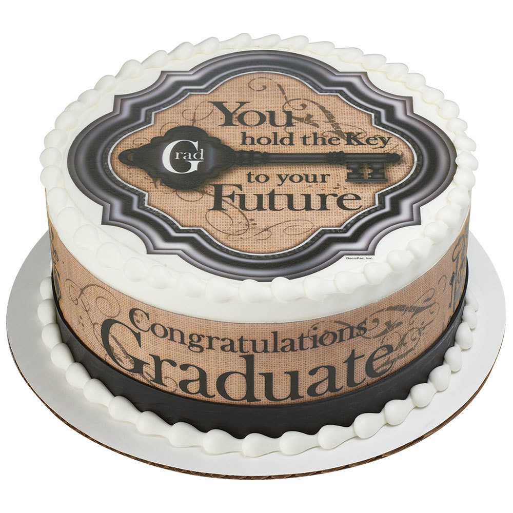 Vintage PhotoCake® Key to Your Future Graduation Round Cake Design