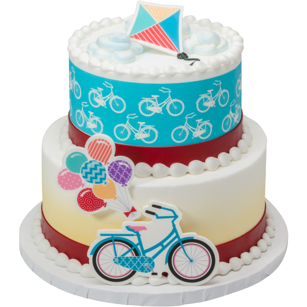 Whimsical Bicycle Gum Paste DecoSet® 2-Tier Cake