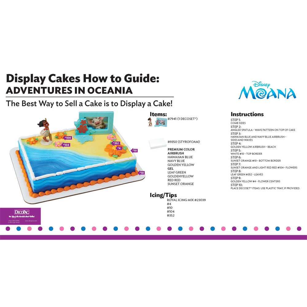Moana Adventures in Oceania Display Cake Guide