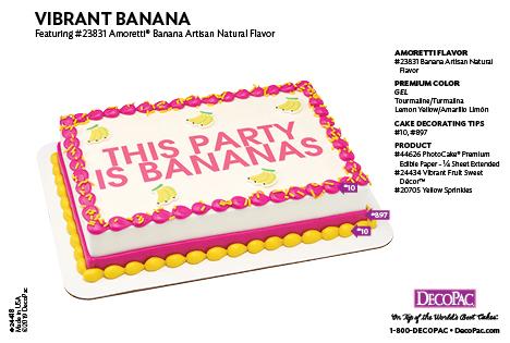 Amoretti Banana Flavor Cake Decorating Instruction Card