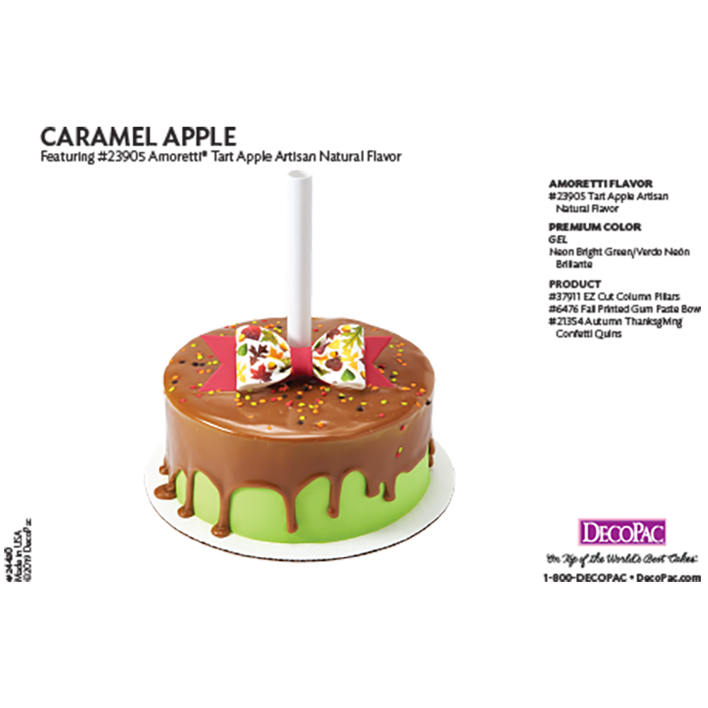 Amoretti Caramel Apple Flavor Cake Decorating Instruction Card