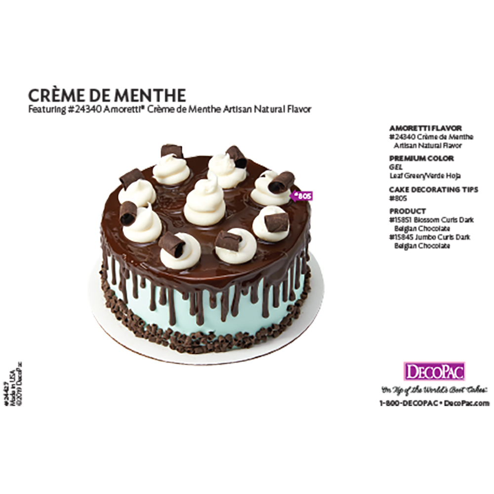 Amoretti Creme De Menthe Flavor Cake Decorating Instruction Card