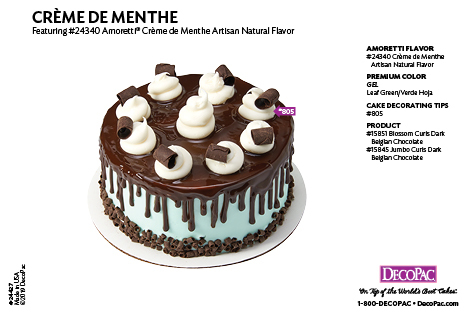 Amoretti Creme De Menthe Flavor Cake Decorating Instruction Card