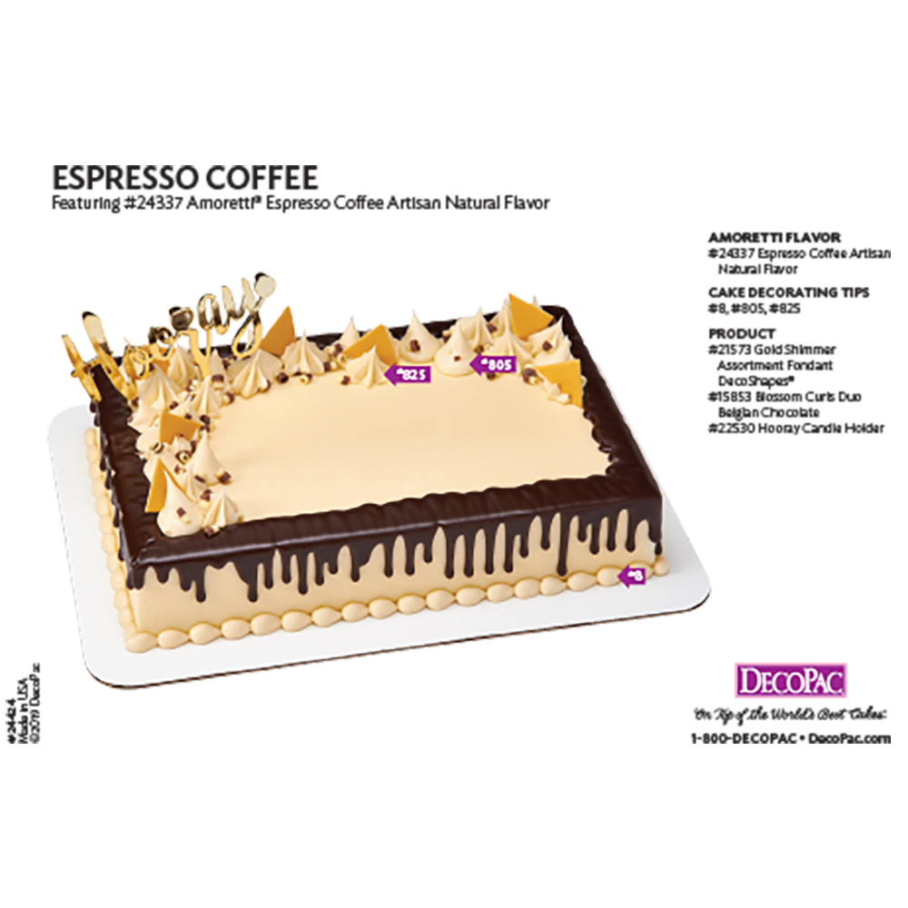 Amoretti Espresso Coffee Flavor Cake Decorating Instruction Card