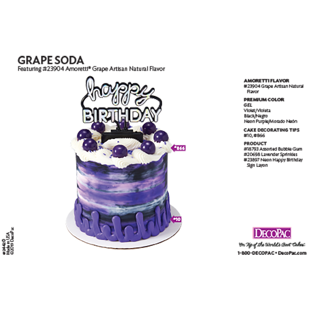Amoretti Grape Flavor Cake Decorating Instruction Card