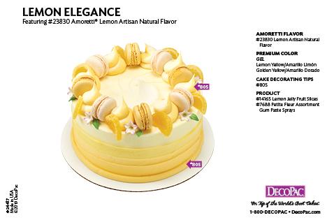 Amoretti Lemon Flavor Cake Decorating Instruction Card