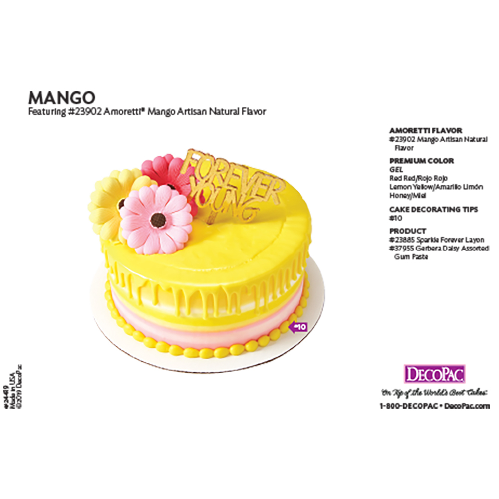 Amoretti Mango Flavor Cake Decorating Instruction Card