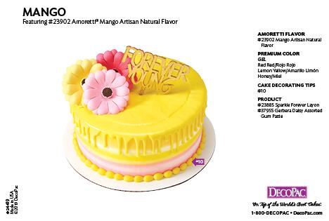 Amoretti Mango Flavor Cake Decorating Instruction Card