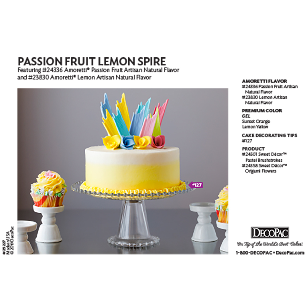 Amoretti Passion Fruit Lemon Spire Flavor Cake Decorating Instruction Card