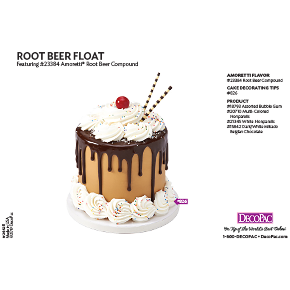 Amoretti Root Beer Flavor Compound Cake Decorating Instruction Card