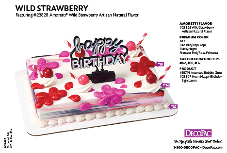 Amoretti Wild Strawberry Flavor Cake Decorating Instruction Card