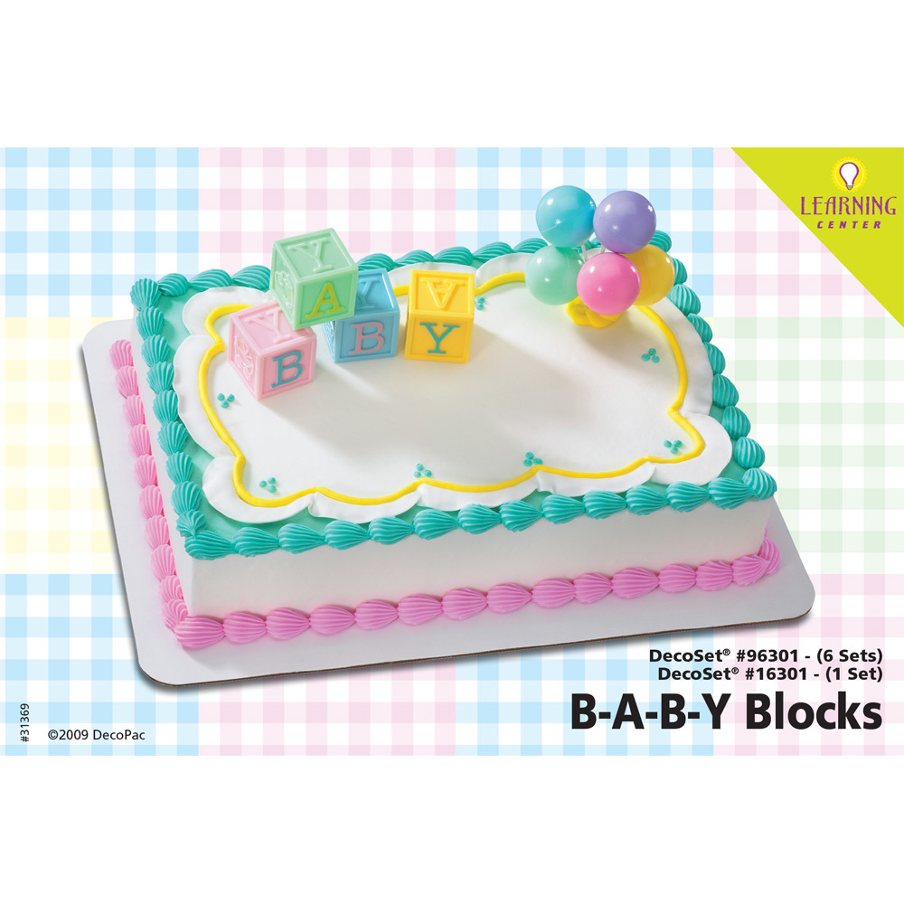 B A B Y Blocks DecoSet 14 Sheet Cake Decorating Instructions DecoPac