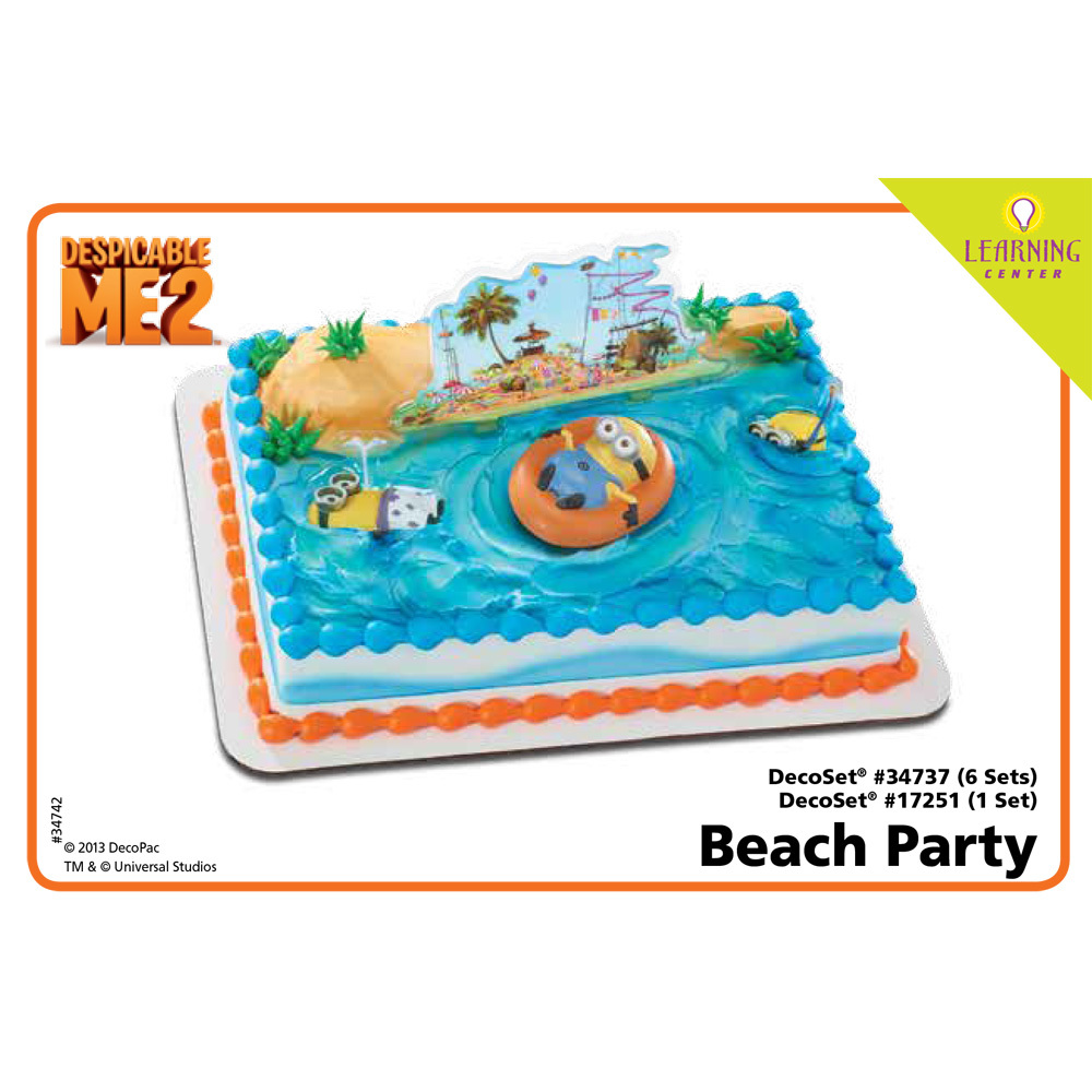 Despicable Me 2 Beach Party DecoSetR 1 4 Sheet Cake Decorating Instructions