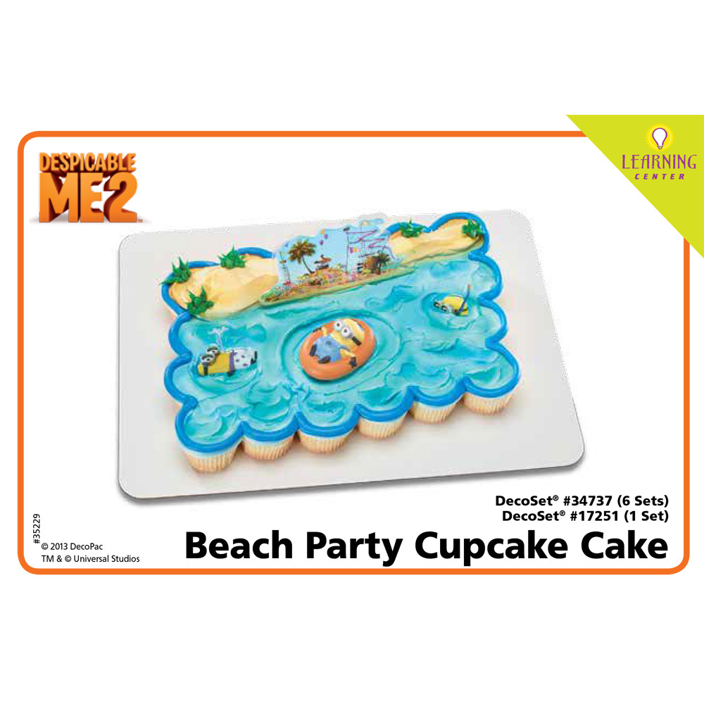 Despicable Me 2 Beach Party DecoSetR Cupcake Cake Decorating Instructions