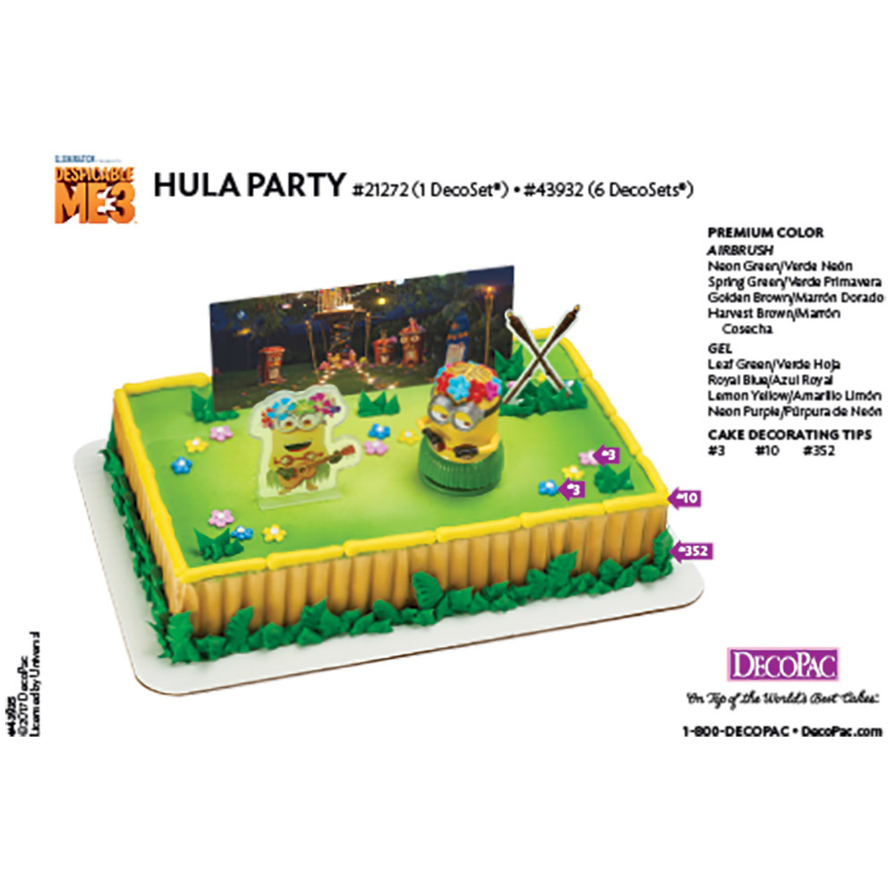 Despicable Me 3 Hula Party DecoSetR Cake Decorating Instruction Card
