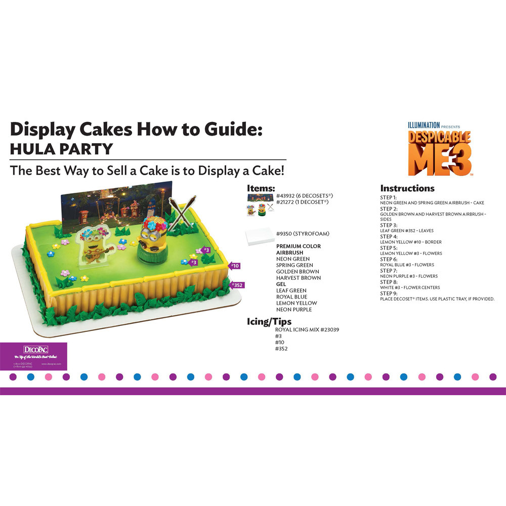 Despicable Me 3 Hula Party Display Cake Guide