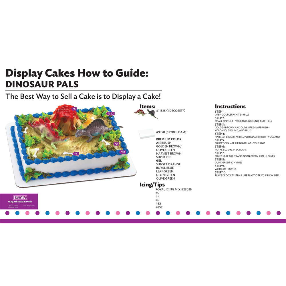 Dinosaur Pals Display Cake Guide